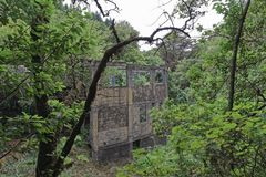 Building ruins in a forest. Ribeiro Frio on Portuguese island of Madeira royalty free stock photography