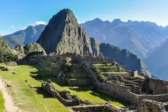 Building ruins at Machu Picchu, the sacred city of Incas, Peru Stock Photos