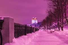 The building of The Russian Academy of Sciences in Moscow in the cloudy winter evening or the night, view from the embankment of M stock photos