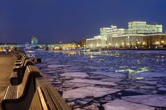 The building of the Russian Ministry of defense on Frunzenskaya embankment in Moscow Stock Image