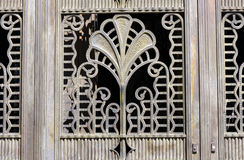 Building's entrance door details in Sao Paulo. SAO PAULO, SP, BRAZIL -  APRIL 4, 2015 - Building's entrance door details of the former bank Sao Paulo Royalty Free Stock Image