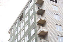 Building`s facade. Many windows. constraction.multi storey house.side view royalty free stock image
