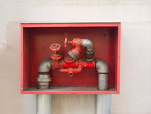Building`s fire hose connections with red handles in a red box Royalty Free Stock Photo