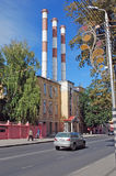 The building of the Samara state district power plant on Volzhsky Avenue in the summer. Samara. The building of the Samara state district power plant on Volzhsky Royalty Free Stock Image