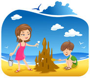 Building a sand castle Royalty Free Stock Photo