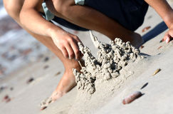Building sand castle Royalty Free Stock Photography