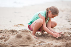 Building sand castle Stock Photo