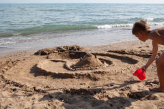 Building sand castle Royalty Free Stock Photo