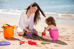 Building a sand castle Stock Image