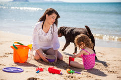Building a sand castle together Royalty Free Stock Images