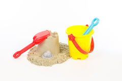 Building the sand castle with toys Stock Photo
