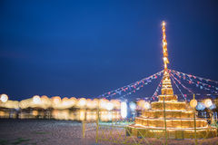 Building Sand Pagoda and bokeh of bridge background. Royalty Free Stock Photography