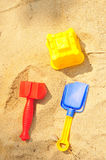 Building Sandcastle By The Beach Royalty Free Stock Photos