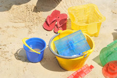 Building Sandcastle By The Beach Stock Images