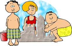 Building sandcastles royalty free illustration