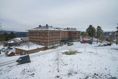 Building scaffolding around the barracks at fredriksten Royalty Free Stock Image