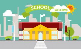 School building against the background of the city. Flat style. Banner, poster-invitation to school. The building of the school against the background of the Royalty Free Stock Photo
