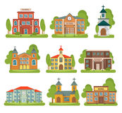 Building School Church Icon Set. Isolated and colored building school church icon set with different types and purposes for buildings vector illustration Stock Photography