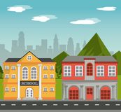 Building school home facade with mountains city landscape. Vector illustration Royalty Free Stock Photo