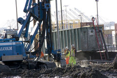Building the Seattle SR 99 tunnel. Alaskan way in Seattle will be turned into a tunnel. That is a century project of Seattle. The highway is too old and making royalty free stock photo