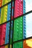 Building seen through the coloured window panes. Royalty Free Stock Photos