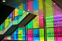 Building seen through the coloured window panes. Royalty Free Stock Photo
