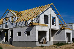 Building semidetached house. Front of house Royalty Free Stock Images