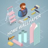 Building services. Isometric concept. Worker, equipment. Home wallpaper. Building services. Isometric interior repairs concept. Worker, equipment and items Royalty Free Stock Photo