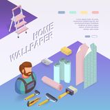 Building services. Isometric concept. Worker, equipment. Home wallpaper. Building services. Isometric interior repairs concept. Worker, equipment and items Royalty Free Stock Photos