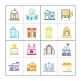 Building set. Set of 16 flat and colorful building icons royalty free illustration