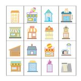 Building set. Set of 16 flat and colorful building icons Stock Illustration