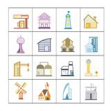Building set. Set of 16 flat and colorful building icons vector illustration
