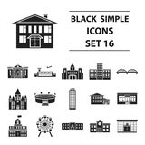 Building set icons in black style. Big collection building vector symbol stock illustration. Building set icons in black style. Big collection building vector Royalty Free Stock Photo