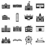Building set icons in black style. Big collection building vector symbol stock illustration. Building set icons in black style. Big collection building vector Royalty Free Stock Images
