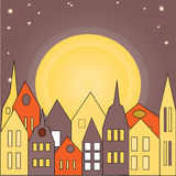 Building set. town. sunset Royalty Free Stock Image