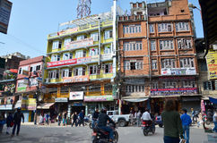Building shop and Local people on the street at Thamel market Stock Image