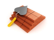 Building a shovel and bricks. 3D image. Building a shovel and bricks on white background. 3D image Royalty Free Stock Images
