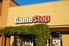 A building sign for GameStop stock photography