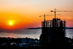 Building Silhouette and sunset. In Pattaya, Thailand stock photo