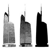Building silhouettes. Vector illustration in black and white Royalty Free Stock Images