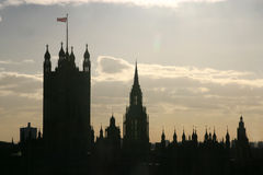 Building silouette. Gothic buildings silouette of westminster cathedral in London, England Royalty Free Stock Image
