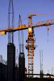 Building site. Construction site with concrete structure and crane Royalty Free Stock Photography