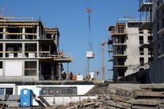 Building site. Workers, construction, crane Stock Photo