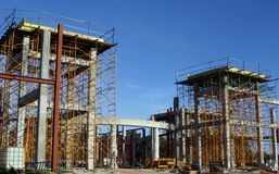 Building Site. A building under construction with interior concrete and metal structures royalty free stock photography