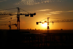 Building site 6. A building site at sunset stock image