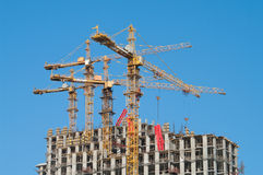 Building site. Photo of a building site of several many-storeyed buildings Royalty Free Stock Photography