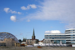 Building site. AARHUS, DENMARK – SEPTEMBER 18, 2016: Dome of Visions building site.  Modern architecture on Aarhus Dockland – Aarhus will be European capital Stock Photography
