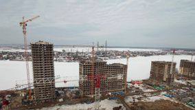 Building site, aerial view time lapse. Winter, building site, aerial view time lapse stock video