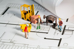 Building site and blueprint Royalty Free Stock Images