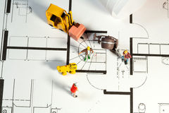 Building site and blueprint Stock Photography